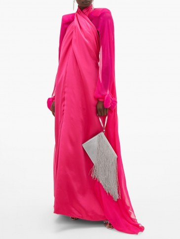 RICHARD QUINN Crossover bow-cuff cape-back silk-satin gown – Matches Fashion – eye catching colour