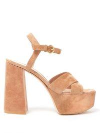 GIANVITO ROSSI Crossover-front 70 platform suede sandals in beige ~ luxe block heel platforms