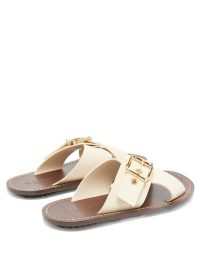 MARNI Cross-strap buckled cream leather slides