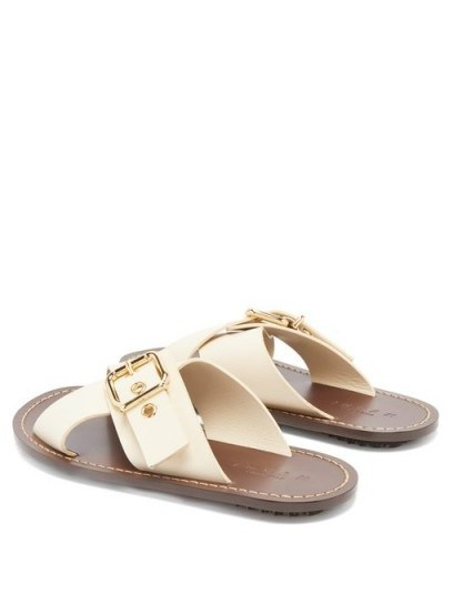 MARNI Cross-strap buckled cream leather slides - flipped