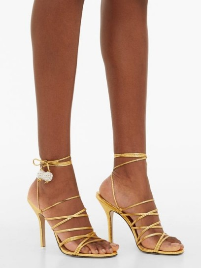 THE ATTICO Crystal-embellished leather heeled sandals in gold ~ luxe strappy heels