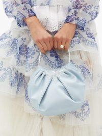 SIMONE ROCHA Crystal-embellished blue satin handbag