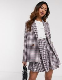 Daisy Street relaxed tailored check co-ord in red / black