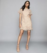 REISS DAMARA LACE MINI DRESS PALE PINK ~ feminine occasionwear