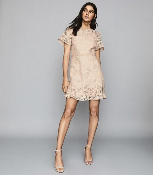 REISS DAMARA LACE MINI DRESS PALE PINK ~ feminine occasionwear