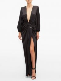 ALEXANDRE VAUTHIER Deep V-neck satin long dress in black – event glamour – red carpet gowns