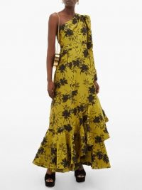 ERDEM Doriana floral-jacquard fil-coupé satin gown in green – one shoulder frill hem gowns