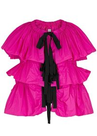DRIES VAN NOTEN Caesar fuchsia ruched taffeta jacket – bright occasion jackets