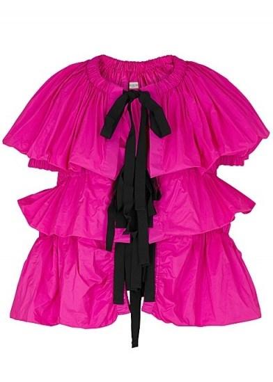 DRIES VAN NOTEN Caesar fuchsia ruched taffeta jacket – bright occasion jackets - flipped
