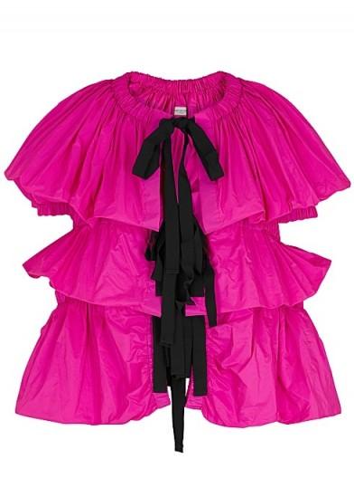 DRIES VAN NOTEN Caesar fuchsia ruched taffeta jacket – bright occasion jackets
