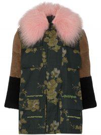 DURAN LANTINK floral faux fur patchwork coat