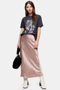 TOPSHOP Dusty Pink Satin Bias Maxi Skirt – slinky skirts