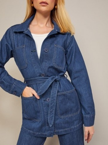Reformation Dylan Jacket in Indigo | blue belted casual jackets - flipped