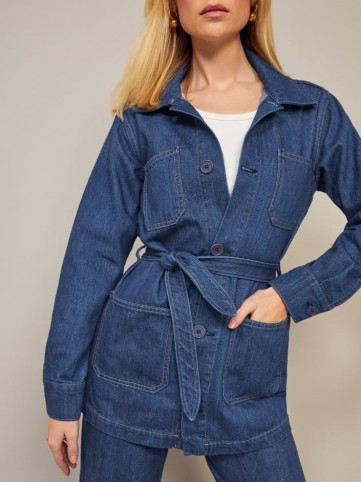 Reformation Dylan Jacket in Indigo | blue belted casual jackets
