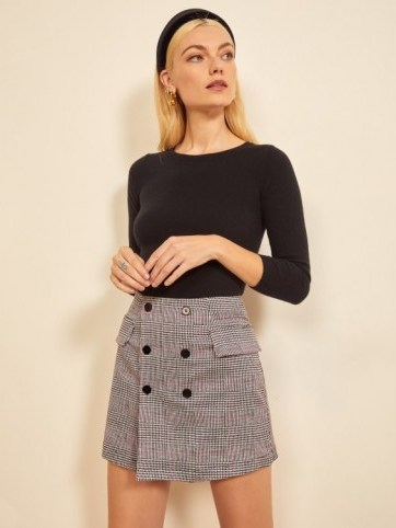 Reformation Easton Skirt in Washington | checked mini - flipped