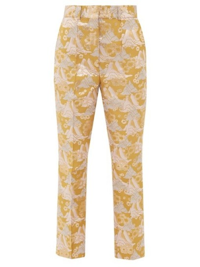 SSŌNE Echo kick-flare brocade trousers in gold ~ luxe pants