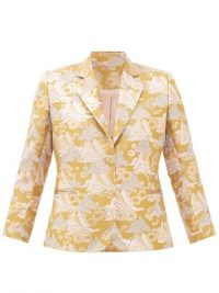SSŌNE Echo single-breasted brocade blazer in gold ~ metallic thread jacket
