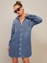 Reformation Edie Denim Shirt Dress in Comoro