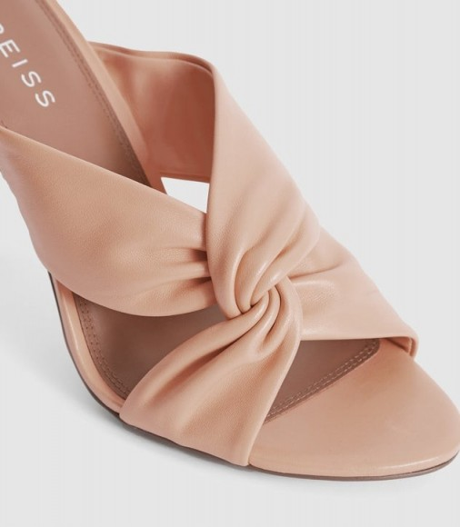 REISS ELLA PALE PINK LEATHER TWIST FRONT HEELED MULES / luxury look mule