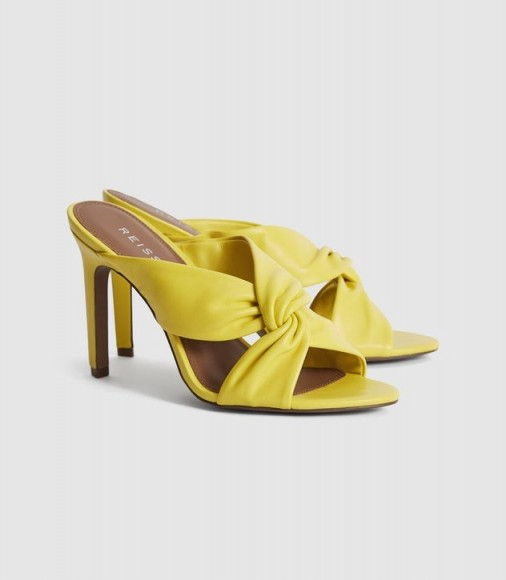 REISS ELLA LEATHER TWIST FRONT HEELED MULES