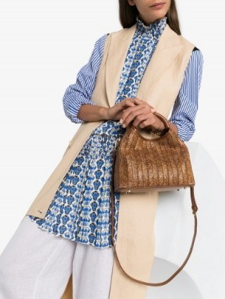 Elleme Brown Baozi Raffia And Leather Tote Bag - flipped