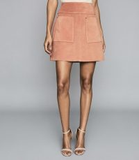 Reiss ELM SUEDE MINI SKIRT PINK – classic A-line skirts