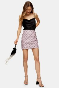 TOPSHOP Embroidered Beaded Premium Leather Mini Skirt – luxe embellished skirts