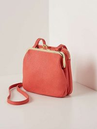 OLIVER BONAS Emerson Clam Clasp Crossbody Bag in Coral