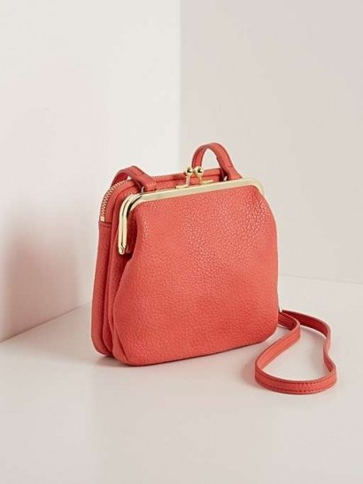 OLIVER BONAS Emerson Clam Clasp Crossbody Bag in Coral - flipped
