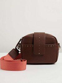 OLIVER BONAS Emilia Studded Crossbody Camera Bag in Brown