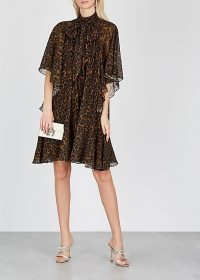ERDEM Elviretta leopard-print cape-effect dress