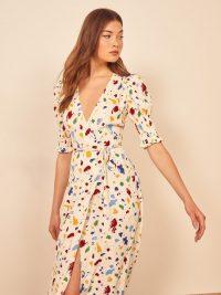 Reformation Esmerelda Dress in Painted Lady | deep V-neckline wrap dresses