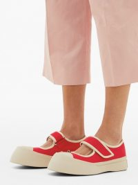 MARNI Exaggerated Mary-Jane canvas trainers in red