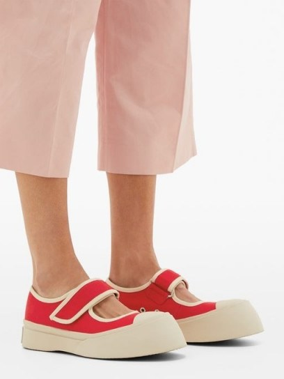 MARNI Exaggerated Mary-Jane canvas trainers in red - flipped