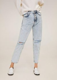 MANGO Faded Mom-fit jeans in Bleach Blue