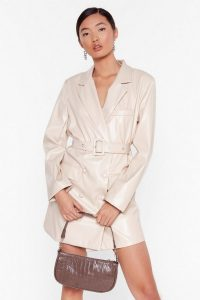 NASTY GAL Faux Leather Too Busy Blazer Mini Dress in stone