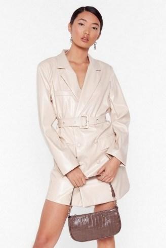 NASTY GAL Faux Leather Too Busy Blazer Mini Dress in stone - flipped