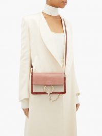 CHLOÉ Faye small lizard-embossed leather shoulder bag in pink | luxe bags