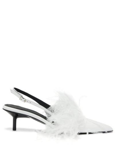 MARQUES'ALMEIDA Feather-trim white leather slingback pumps – kitten heel slingbacks