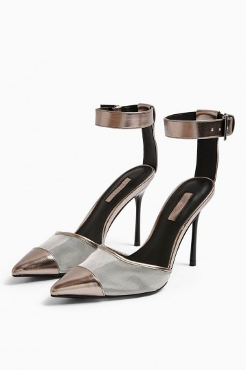Topshop FERN Silver Mesh Ankle Strap Shoes | going out heels