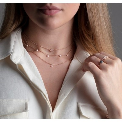 MONICA VINADER Fiji Tiny Button Diamond Necklace 18ct rose gold vermeil on sterling silver – delicate necklaces