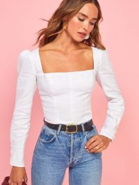 Reformation Fillmore Top White | square neck, puff sleeved tops