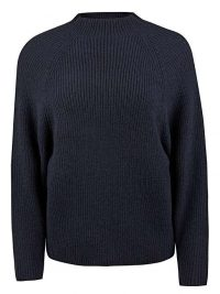 OLIVER BONAS Fisherman Ribbed Navy Blue Knitted Jumper | loose shaped high neck jumpers