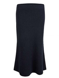 OLIVER BONAS Fisherman Ribbed Navy Blue Knitted Midi Skirt | dark blue skirts