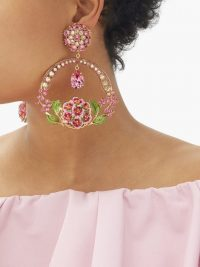 DOLCE & GABBANA Floral bloom crystal and enamel drop clip earrings
