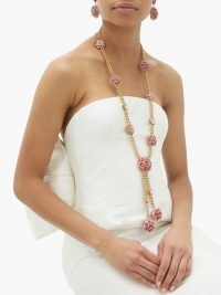 DOLCE & GABBANA Floral bloom enamel and crystal necklace / statement jewellery