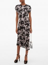 PACO RABANNE Floral-print jersey wrap dress in black ~ vintage look dresses
