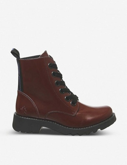 FLY LONDON Ragi leather ankle boots in red