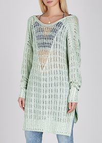 FREE PEOPLE Pretty In Pointelle mint cotton-blend jumper – sheer knits
