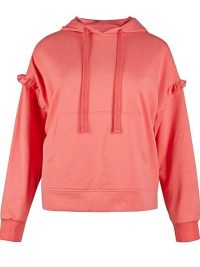 OLIVER BONAS Frill Jersey Pink Hoodie